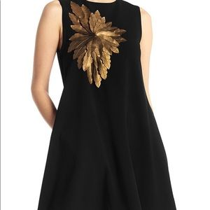 Black Dress with Gold Flower ..